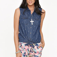 Black Poppy Chambray Tie Front Shirt at PacSun.com