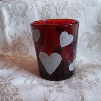 Red Tea Light with Silver Hearts by monkmama54 on Zibbet