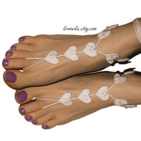 Barefoot Sandals IVORY Heart Valentine's Day gift by kroowka