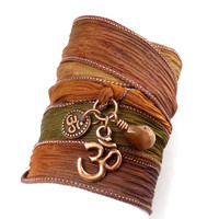 Silk Wrap Bracelet with Copper Om Charms yoga by charmeddesign1012