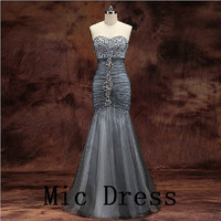 Best sale sweetheart sleeveless mermaid tulle  crystal beading pleated long prom/Evening/Party/Homecoming/cocktail /Bridesmaid/Formal Dress