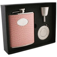 "Visol ""Annabella"" Light Pink Snake-Skin Leatherette 6oz Stellar Flask Gift Set"