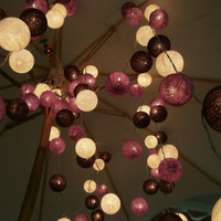 5 Packs of Purple Colour Set Cotton balls Hanging stringlights for party and home decoration indoor and outdoor (20 balls/pack)
