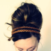 Hazelnut HEADBAND - Tan Brown, Acrylic Wool Yarn, Double Strand, Boho, Hippie, Elastic, Wood Bead, Handmade, Crochet, Yarnival.