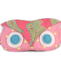 Sleep Mask, Owl, Eye Mask, Pink, Cotton, Ready to Ship