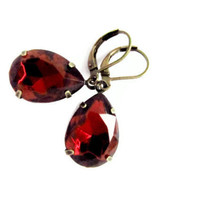 Garnet Rhinestone Earrings, Vintage Sparkel Red Earrings,Tear Drop Earrings, Rhinestone Earrings, 4tasteofshabbychic