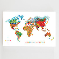 Pixel Map 24 x 36 'Colors of the World' Bamboo Wall Art