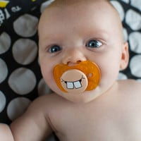 Cute Buck Teeth- Custom Hand Painted Pacifier NUK Style ORANGE
