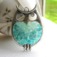 Stained Glass Owl Pendant by AimeezArtz on Etsy