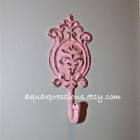 Candy Pink Wall Hook/ Cast Iron/ Shabby Chic by AquaXpressions