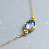 Vintage blue oval crystal gem gold filled necklace - simple delicate jewelry by AmiesAmies