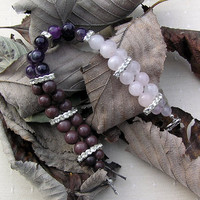 "Rose Quartz, Amethyst & Purple Aventurine  Gemstone Crystal Bracelet - ""Purple Passion"""