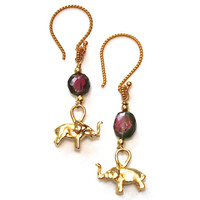 Watermelon Tourmaline Earrings Gold Vermeil Elephant Earrings Handcrafted Gemstone Jewlery