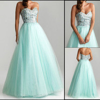 2013 Charm A-Line Evening Ball Formal Gown Long Prom Party Dresses Wedding Dress