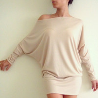 Oversize Cotton Tunic Top Cream beige Tunic Top with bat