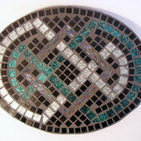 Mosaic Wall Art Silver Teal Black home decor wall hanging Celtic knot design  double interlocking infinity symbols
