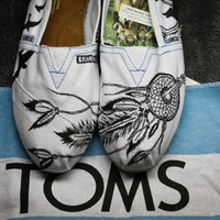 BreakFree Designs on TOMS White Canvas Shoes by BreakFreeDesigns