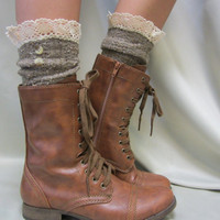 Nordic Lace short boot  lace socks in BROWN by CatherineColeStudio