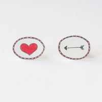 Arrow to the Heart Stud Earrings  Made To Order by rareindeed