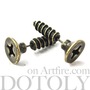 3D Fake Gauge Realistic Nuts and Bolts Screw Stud Earrings in Bronze