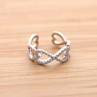 HEART &amp; INFINITY ring with crystals, 2 colors | girlsluv.it