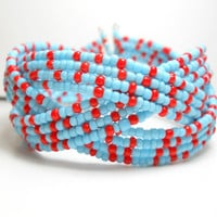 Braided Cuff Bracelet Blue and Red Beaded Cuff Bracelet