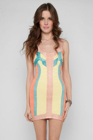 Art Deco Pastel Bandage Dress in Salmon Multi :: tobi