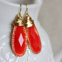 NEW  red earrings - lovely rich red with wire coils