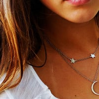 Mini Crescent Moon and Stars Necklace- Handcut Modern Silver Crescent Moon Shape with Three Tiny Stars