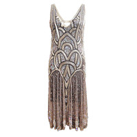 1920s Bead &amp; Sequin Rose Gold Flapper