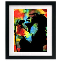 Janis Joplin - Colorful Psychedelic Rock n Roll Portrait Painting Reproduction Signed Print