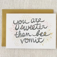 Valentine Card Bee Vomit by witandwhistle on Etsy