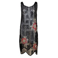 1920's Deco Sequined Floral on Tulle Flapper Dress