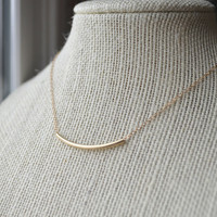 14k Gold Fill Bar Necklace - Simple Minimal Everyday Jewelry - Valentine&#x27;s Day Gift
