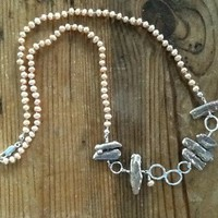 Necklace of Peachy Pearls with Antique Rosy Pink Biwa Pearls