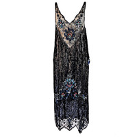 1920s Silk Net Sequin Flapper Over Dress