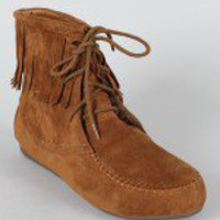 Cherokee Fringe Lace Up Moccasin Ankle Bootie