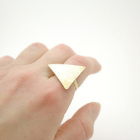Geometric Hammered Triangle Ring  -  Modern Brass Jewelry - Raw Brass Metal Ring