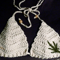 Cotton Bra / Bikini Top with Green Leaf Made To Order by hemphom
