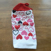 Valentine Hearts Hanging Kitchen Towel With Hand Knit Top and Ties