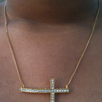 Petite but Bold Gold Sideways Cross Necklace