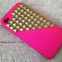 Gold Brass Studded iPhone 4 4S Hot Pink by MargauxBonnie on Etsy