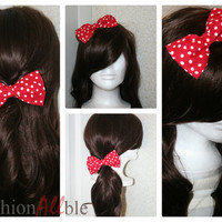 Red and white Clip on hair bow by Fashionallble on Etsy