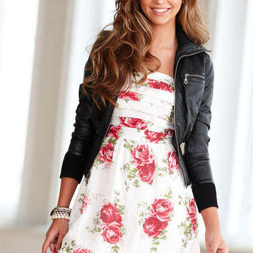 Red Rose Horizontal Pleat Dress