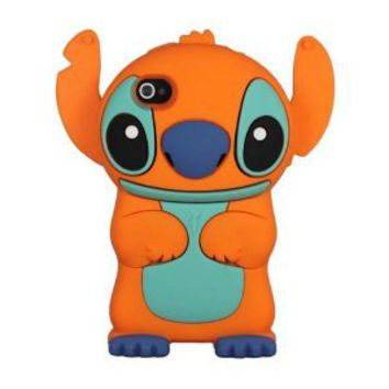 Amazon.com: niceEshop(TM) Orange Cute 3D Stitch with Movable Ears Silicone Rubber Soft Case Cover Fit for the Iphone4/4S +Free Screen Protector +Free niceEshop Cable Tie: Cell Phones & Accessories