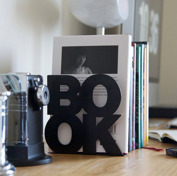 $24.00 Modern stylish bookend BookOne black or by DesignAtelierArticle