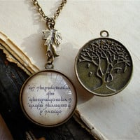 Elven Necklace  Quenya and Leaf of Lorien by TheLysineContingency