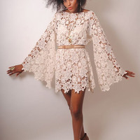 BELL SLEEVE vintage-inspired 70s style ivory LACE crochet sheer hippie mini dress