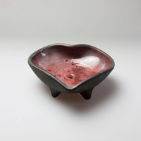 red heart shaped soapdish