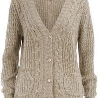 White twist cable cardigan - Clothing - Dorothy Perkins